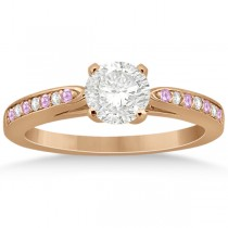 Cathedral Pink Sapphire Diamond Engagement Ring 14k Rose Gold (0.26ct)