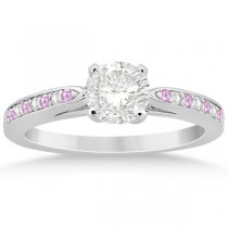 Cathedral Pink Sapphire Diamond Engagement Ring 14k White Gold (0.26ct)