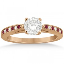 Cathedral Diamond & Ruby Engagement Ring 14k Rose Gold 0.22ct