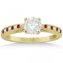 Cathedral Diamond & Ruby Engagement Ring 14k Yellow Gold 0.22ct