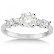Five Stone Diamond Baguette Engagement Ring 14K White Gold (0.36ct)