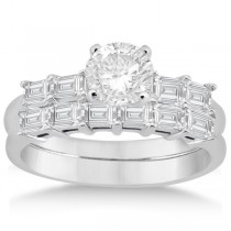 Baguette Diamond Engagement Ring & Wedding Band 18K White Gold (0.90ct)
