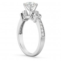 Butterfly Diamond Engagement Ring Setting 14k White Gold (0.20ct)