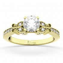 Butterfly Diamond Engagement Ring Setting 14k Yellow Gold (0.20ct)