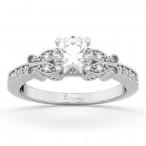 Butterfly Diamond Engagement Ring Setting 18k White Gold (0.20ct)