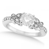 Round Diamond Butterfly Design Engagement Ring 14k White Gold (0.75ct)