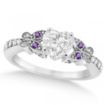 Heart Diamond & Amethyst Butterfly Engagement Ring 14k W Gold (0.75ct)