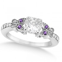 Princess Diamond & Amethyst Butterfly Engagement Ring 14k W Gold (1.50ct)