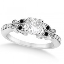 Black & White Diamond Princess Butterfly Engagement Ring 14k W Gold 0.75ct