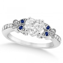 Heart Diamond & Blue Sapphire Butterfly Engagement Ring 14k W Gold 1.50ct