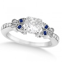 Princess Diamond & Blue Sapphire Butterfly Engagement Ring 14k W Gold 0.75ct