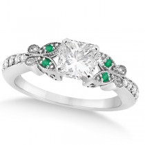 Princess Diamond & Emerald Butterfly Engagement Ring 14k W Gold 1.50ct