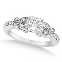 Princess Diamond Butterfly Design Engagement Ring 14k White Gold (1.50ct)
