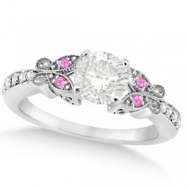Round Diamond & Pink Sapphire Butterfly Engagement Ring 14k W Gold 0.75ct