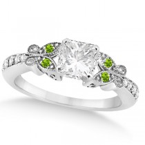 Princess Diamond and Peridot Butterfly Engagement Ring 14k W Gold 0.50ct