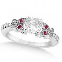 Princess Diamond and Ruby Butterfly Engagement Ring 14k White Gold (0.75ct)