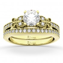 Butterfly Engagement Ring & Wedding Band Bridal Set 14k Yellow Gold (0.42ct)