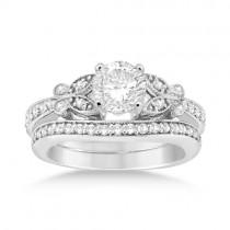 Butterfly Engagement Ring & Wedding Band Bridal Set Palladium Gold (0.42ct)