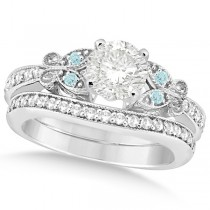 Round Diamond & Aquamarine Butterfly Bridal Set in 14k W Gold (1.21ct)