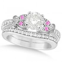 Round Diamond & Pink Sapphire Butterfly Bridal Set in 14k W Gold 1.71ct