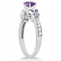 Butterfly Amethyst & Diamond Heart Engagement Ring 14K W Gold 2.48ct