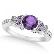 Butterfly Amethyst & Diamond Engagement Ring Platinum (0.88ct)