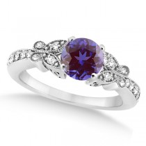 Butterfly Alexandrite & Diamond Engagement Ring 14K White Gold .88ct