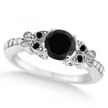 Butterfly White & Black Diamond Engagement Ring 18k White Gold (0.67ct)