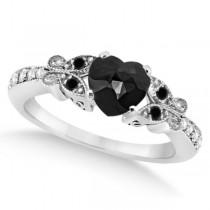 Butterfly Black and White Diamond Heart Bridal Set 14k W Gold 1.49ct