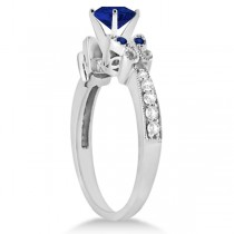 Butterfly Blue Sapphire & Diamond Engagement Ring 14k W. Gold (1.83ct)
