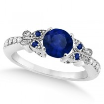 Butterfly Blue Sapphire & Diamond Engagement Ring 18k White Gold .88ct)