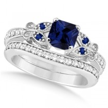 Butterfly Blue Sapphire & Diamond Princess Set 14k W. Gold 1.55ct