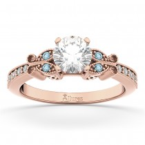 Butterfly Diamond & Aquamarine Engagement Ring 14k Rose Gold (0.20ct)