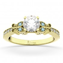 Butterfly Diamond and Aquamarine Engagement Ring 18k Yellow Gold (0.20ct)