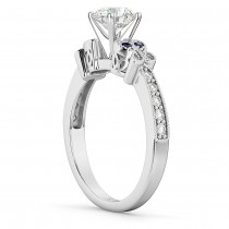 Butterfly Diamond & Sapphire Engagement Ring 14k White Gold (0.20ct)