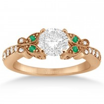 Butterfly Diamond & Emerald Engagement Ring 14k Rose Gold (0.20ct)