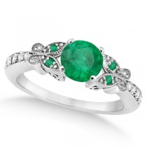 Butterfly Genuine Emerald & Diamond Engagement Ring 18k W. Gold (0.71ct)