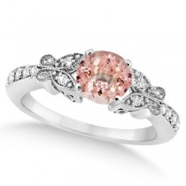 Butterfly Morganite & Diamond Engagement Ring 14K White Gold .88ct