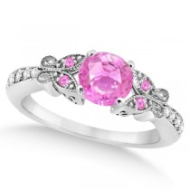 Butterfly Pink Sapphire & Diamond Engagement Ring 14K W. Gold 1.28ct