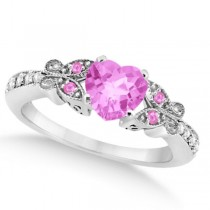 Butterfly Pink Sapphire & Diamond Heart Engagement 14k W Gold 1.33ct