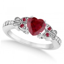 Butterfly Genuine Ruby & Diamond Heart Engagement 14k W Gold 1.31ct