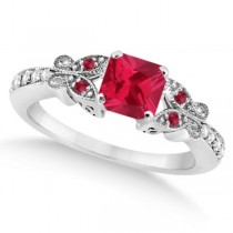 Butterfly Ruby & Diamond Princess Engagement Ring 14k W. Gold 1.31ct
