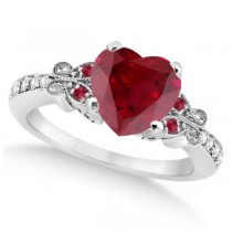 Butterfly Genuine Ruby & Diamond Heart Engagement 14k W Gold 1.71ct