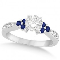 Floral Diamond & Blue Sapphire Engagement Ring 14k White Gold (0.80ct)
