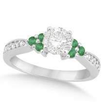 Floral Diamond and Emerald Engagement Ring Platinum (0.78ct)