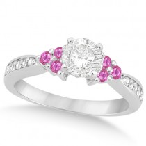 Floral Diamond & Pink Sapphire Engagement Ring Palladium (0.80ct)