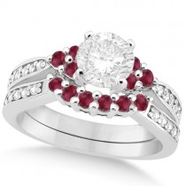 Floral Diamond & Ruby Engagement Ring & Band 14k White Gold (1.00ct)