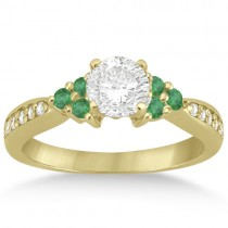 Floral Diamond and Emerald Engagement Ring 18k Yellow Gold (0.28ct)