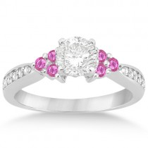 Floral Diamond & Pink Sapphire Engagement Ring 14k White Gold (0.30ct)