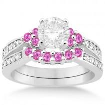 Floral Diamond & Pink Sapphire Engagement Set 18k White Gold (0.60ct)